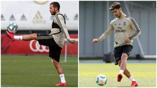 Eden Hazard y Marco Asensio durante la sesión de entrenamiento de este lunes. (Real Madrid)