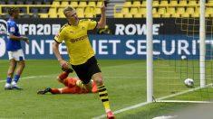 Haaland celebra un gol. (Getty)