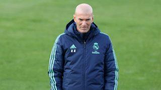 Zinedine Zidane, en un entrenamiento del Real Madrid. (Getty)