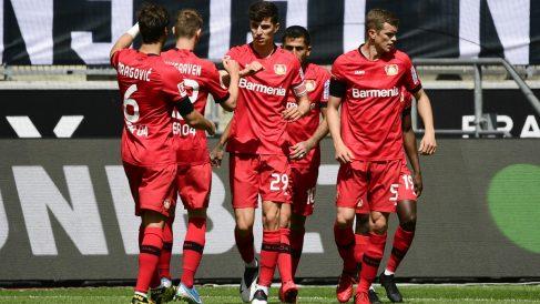 Kai Havertz celebra uno de sus dos goles contra el Mönchengladbach. (Getty)