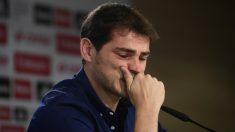 Iker Casillas durante la rueda de prensa de despedida del Real Madrid. (AFP)