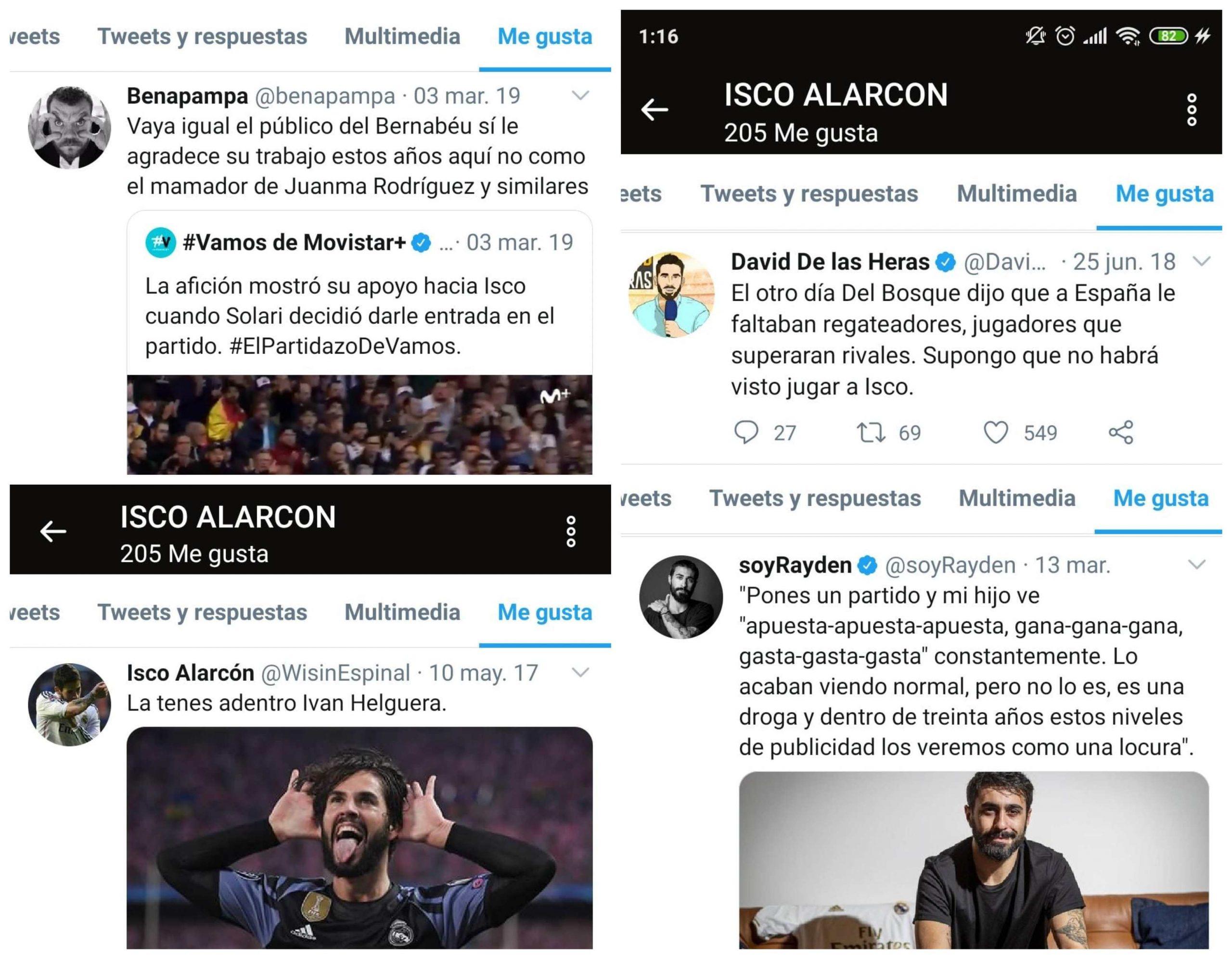 Otros polémicos 'likes' de Isco Alarcón.