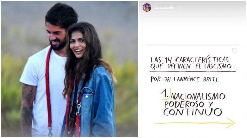 Isco, Sara Sálamo y el post que ha compartido.