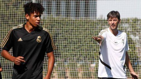 Manu Fernández, en un entrenamiento con el Juvenil B del Real Madrid