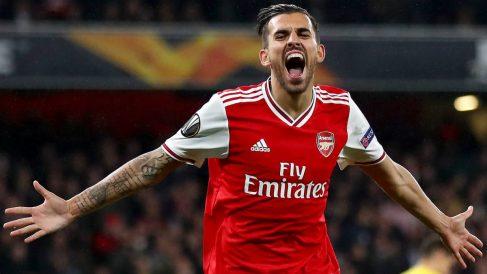 Dani Ceballos celebra un gol con el Arsenal. (Getty)