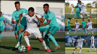 Hazard, durante el partidillo de este sábado en el Di Stéfano.