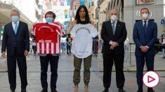 Enrique Cerezo, José Luis Martínez-Almeida, Begoña Villacís, Javier Tebas y Emilio Butragueño. (EFE)