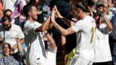 Bale y Hazard celebran un gol con el Real Madrid. (Getty)