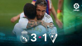 Ramos y Hazard celebran el 2-0 en el Real Madrid-Eibar.