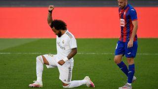 Marcelo celebró su gol homenajeando a George Floyd. (AFP)