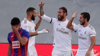 Benzema, Ramos y Hazard celebran un gol. (Getty)