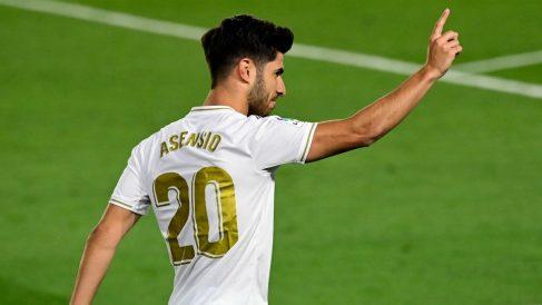 Asensio celebra un gol con el Madrid. (Realmadrid.com)