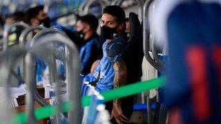 James Rodríguez, en el banquillo del Real Madrid en el estadio Alfredo di Stéfano. (AFP)