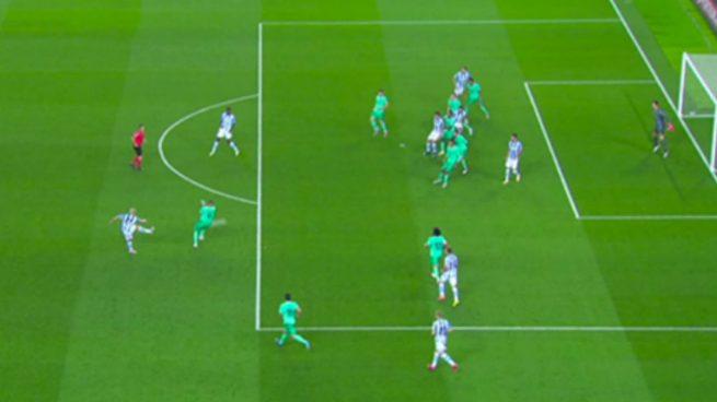 Gol bien anulado a la Real: Merino estaba en fuera de juego posicional