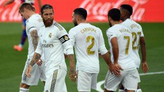 Los jugadores del Real Madrid, durante un partido en el Alfredo Di Stéfano. (AFP)