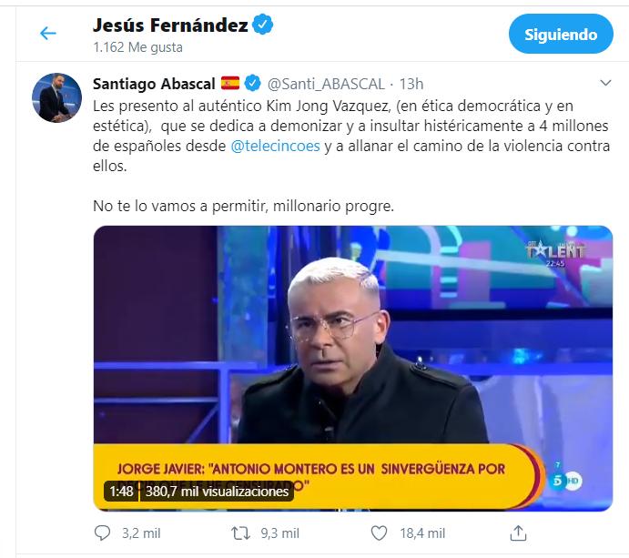 El 'like' de Jesús Fernández a Santi Abascal.
