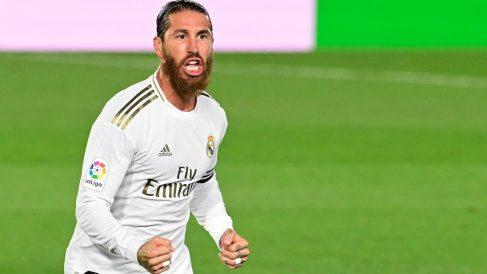 Ramos celebra su gol contra el Mallorca. (AFP)