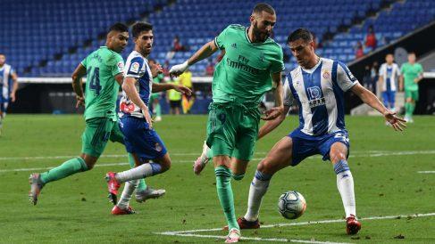 El taconazo genial de Benzema previo al 0-1. (AFP)