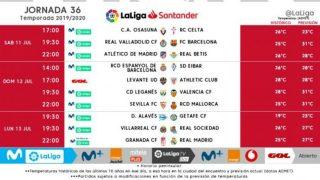 Horarios de la Jornada 36 de Liga.