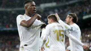 Vinicius celebra un gol con el Real Madrid. (Getty)