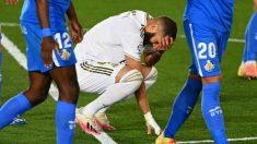 Benzema en el partido contra el Getafe. (AFP)