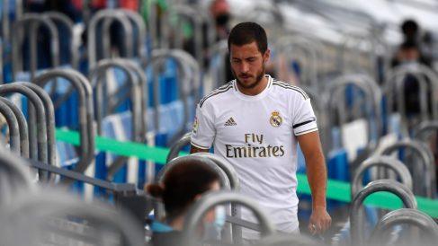 Eden Hazard, tras ser sustituido en un partido del Real Madrid (AFP).