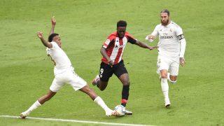 Sergio Ramos en una acción ante el Athletic. (Getty)