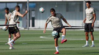 Hazard, durante un entrenamiento. (Realmadrid.com)