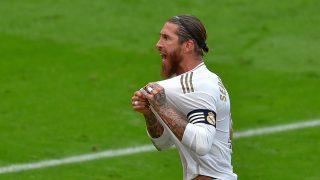 Sergio Ramos celebra el gol marcado al Athletic (AFP).