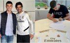 Juanma Hernández, firmando con el Real Madrid y posando junto a Raúl.