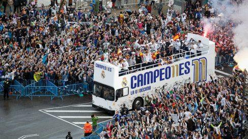 El Real Madrid celebra la Undécima en la Cibeles. (Getty)