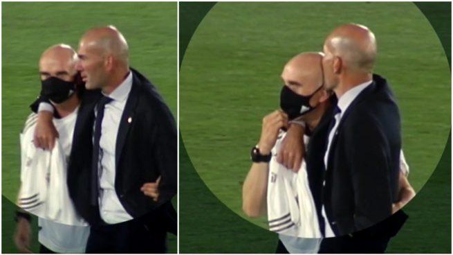 Zidane y Bettoni, abrazados tras ganar la Liga.