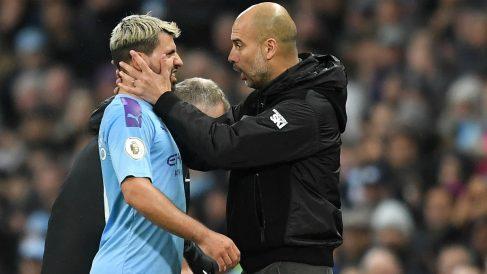 Agüero y Guardiola durante un partido con el Manchester City. (Getty)