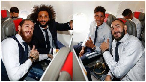 Sergio Ramos, Marcelo, Varane y Benzema, en el avión rumbo a Manchester para la vuelta de los octavos de final de Champions League. (Real Madrid)