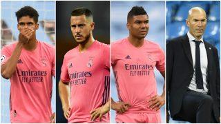 Varane, Hazard, Casemiro y Zidane, señalados de la derrota del Madrid ante el City. (AFP)