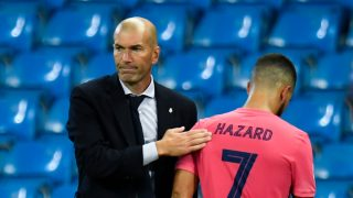 Zidane y Hazard, tras ser sustituido ante el City (AFP).
