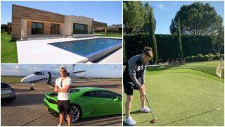 La casa de Bale, uno de sus coches y el galés jugando al golf.