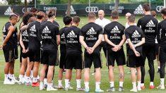 Los jugadores del Real Madrid, en un entrenamiento.