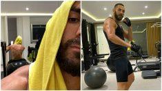 Karim Benzema dándose una paliza en el gimnasio. (@karimbenzema)