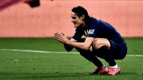 Cavani, en un partido con el PSG. (AFP)