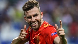 Borja Mayoral celebra un gol con la selección española. (AFP)