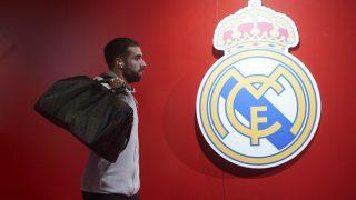 Dani Carvajal a su llegada al Santiago Bernabéu. (Getty)