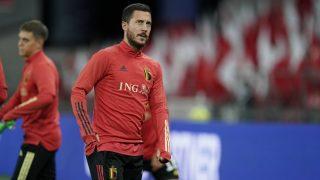 Hazard, durante un entrenamiento con Bélgica. (AFP)