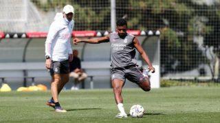 Rodrygo, en un entrenamiento con el Real Madrid.