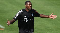 David Alaba, en un entrenamiento del Bayern (AFP).