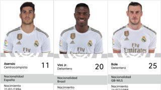 Asensio, Vinicius y Bale, con sus nuevos dorsales.