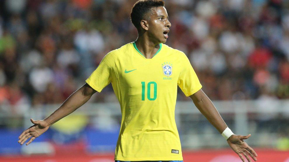 Rodrygo durante un partido con Brasil. (AFP)