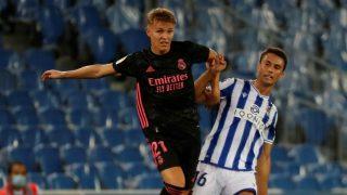 Ödegaard, durante un partido con el Real Madrid. (EFE)