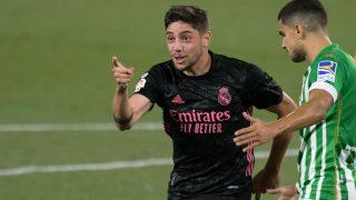 Fede Valverde celebra su gol al Betis. (AFP)