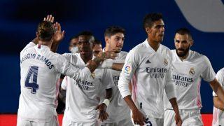 Los jugadores del Real Madrid celebran un gol (AFP).